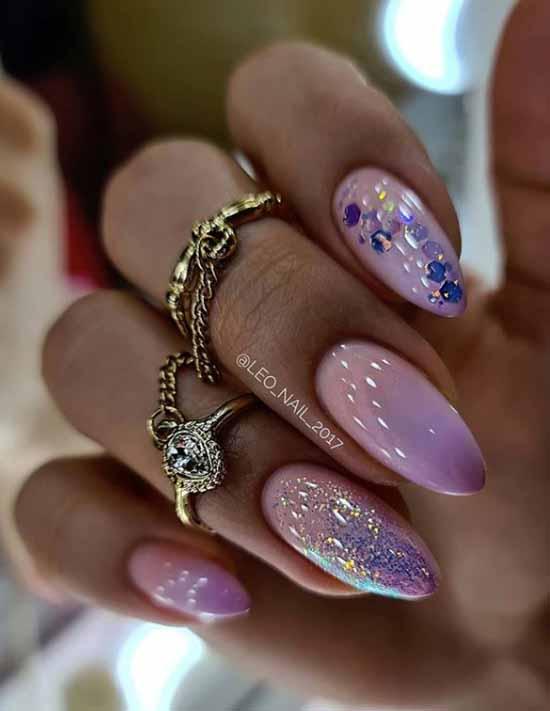 Pastel manicure with decor