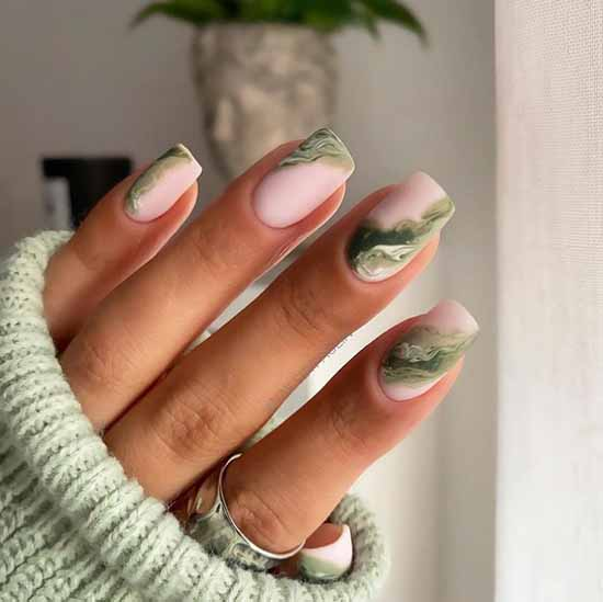 Pastel green manicure