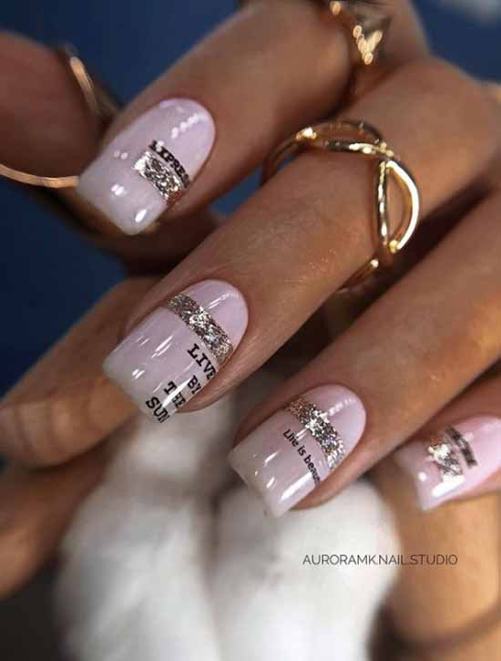 Delicate pink manicure with decor