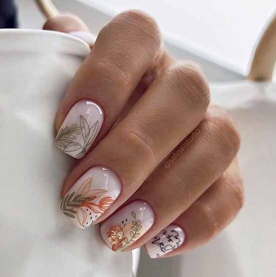 Manicure with pastel drawings
