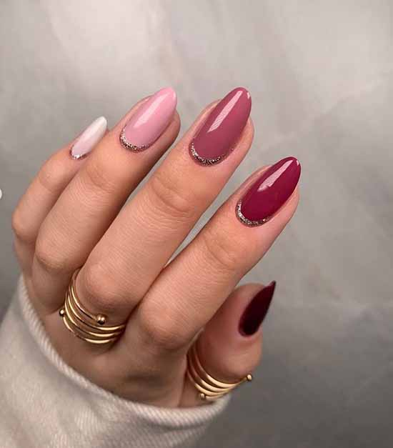 Pastel red manicure