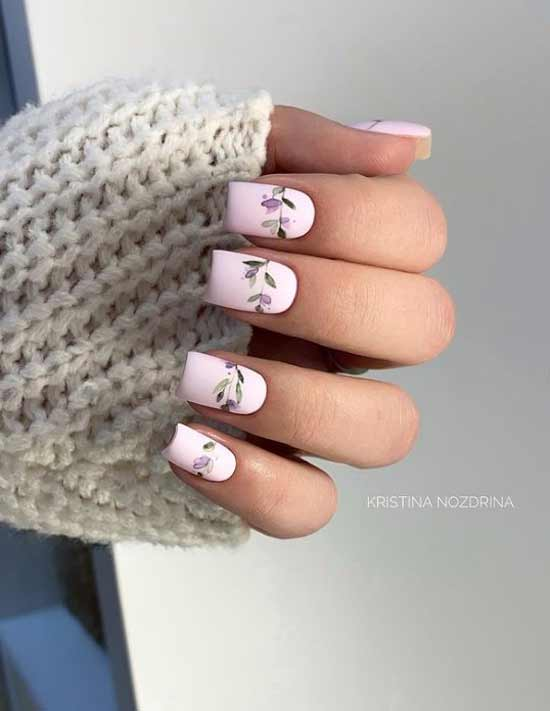 Delicate pastel manicure with flowers photo