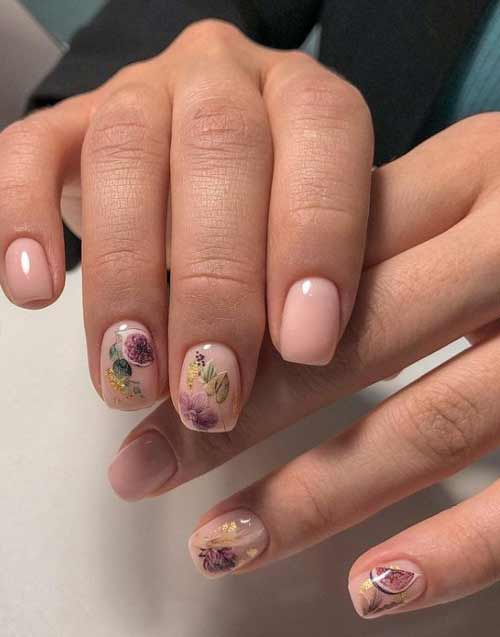 Nude manicure with fruits