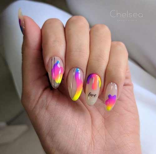 Neon summer nail design