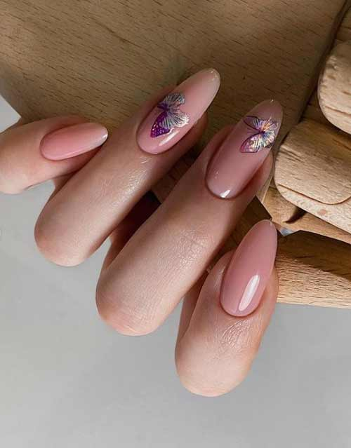 Long nails design with butterflies