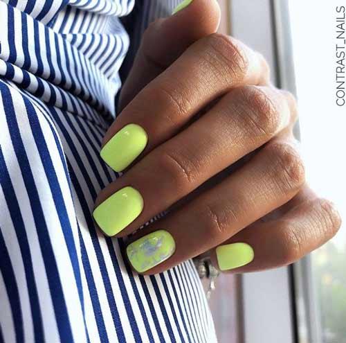 Green neon nails design