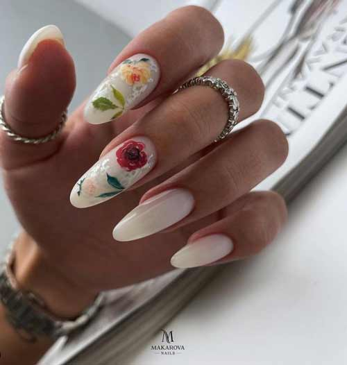 Summer design of long nails with flowers