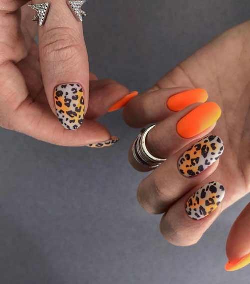 Summer orange manicure