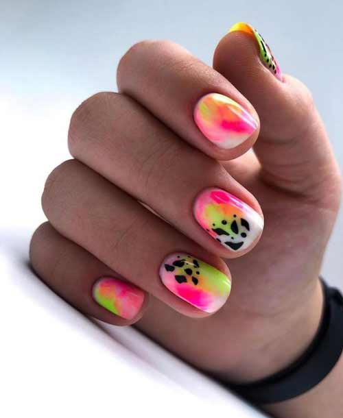 Neon manicure summer design
