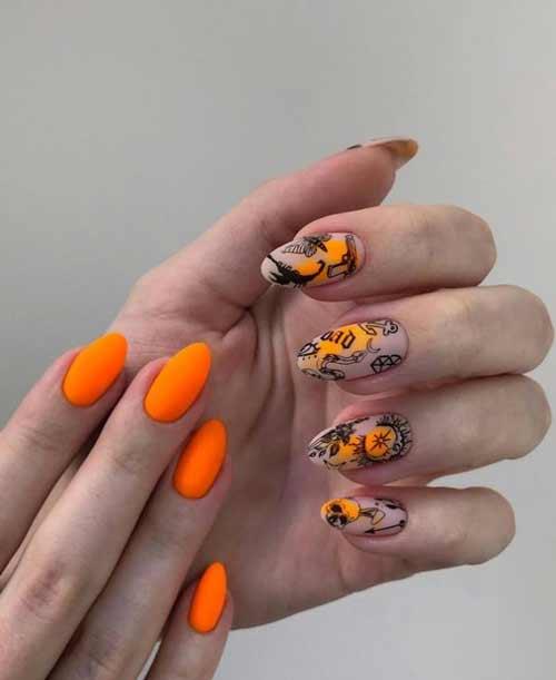 Bright orange manicure