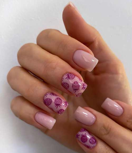 Summer nail design with fruits