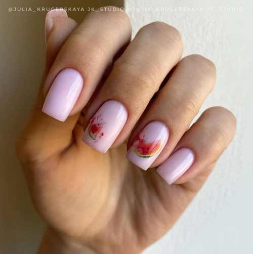 Manicure with a watermelon pattern