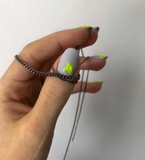 Gray + neon nail designs
