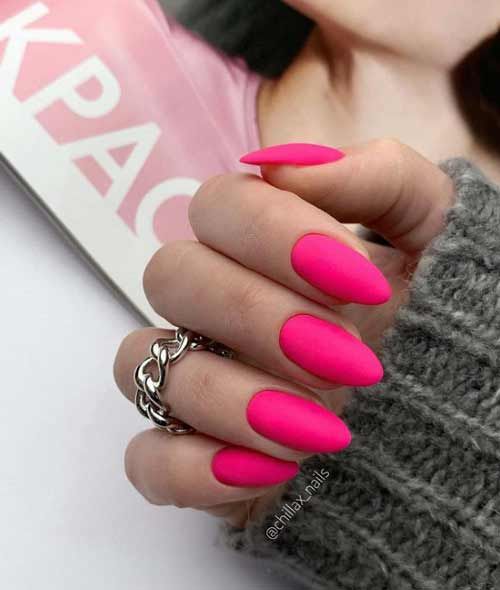 Bright red matte manicure