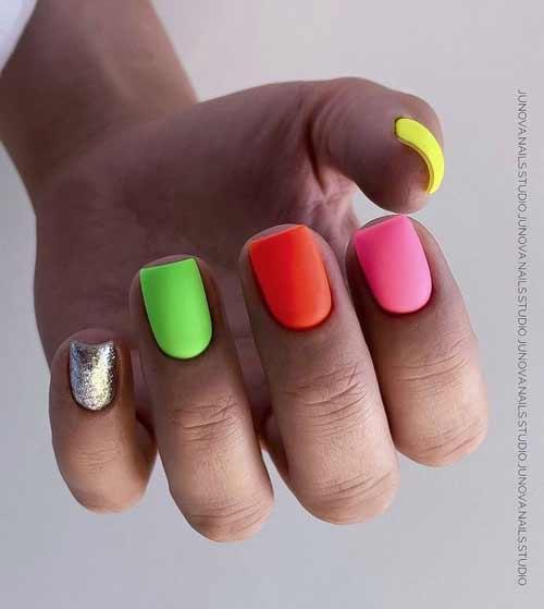 Bright multi-colored manicure