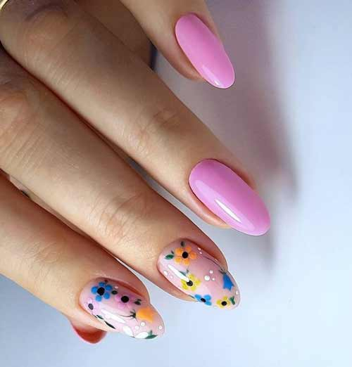 Pink manicure with flowers
