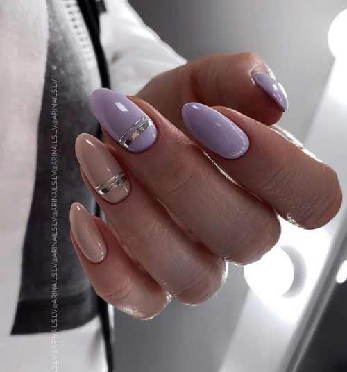Foil stripe manicure