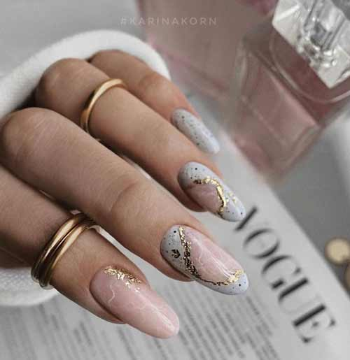 Long nude nails with foil