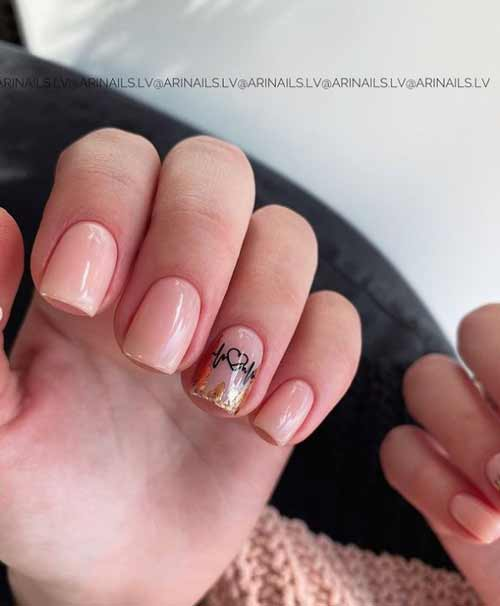 Short nails with foil