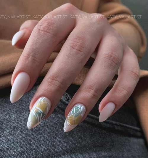 Nude manicure with foil
