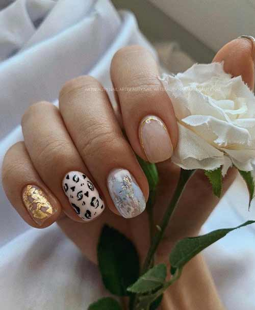 Nude manicure with foil photo of nail design
