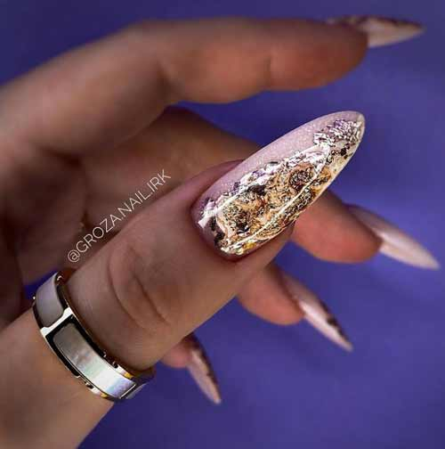 Long sharp nails with foil