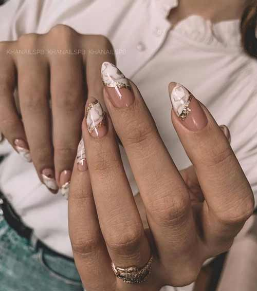 Almond nude nails with foil