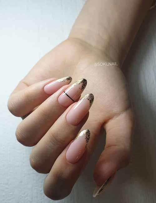 Nude French manicure with foil