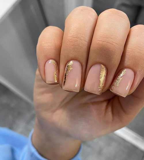 Gold foil on nails