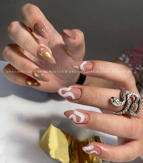 Nude matte manicure and foil