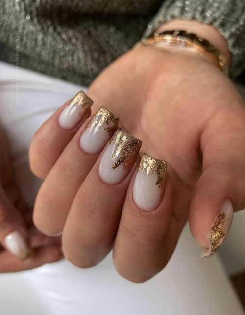 Milky nails with foil
