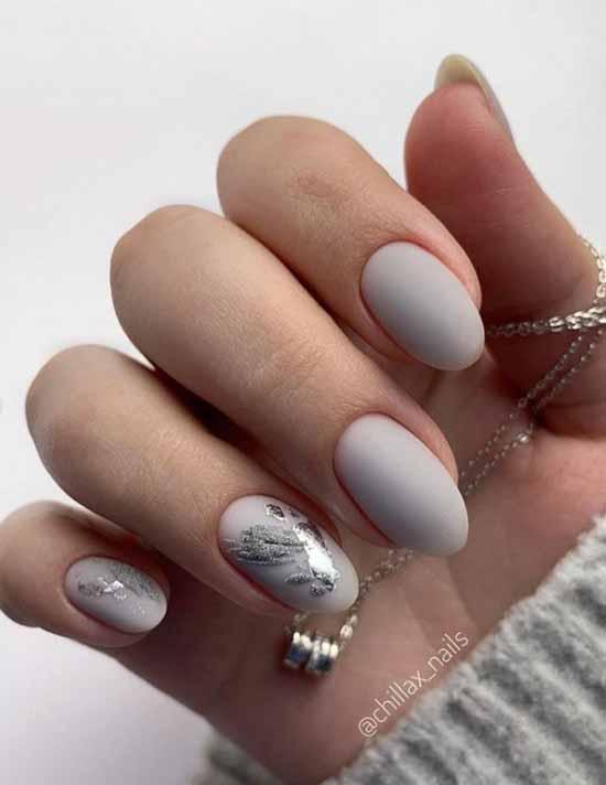 Nude manicure with foil 2021: photos, news