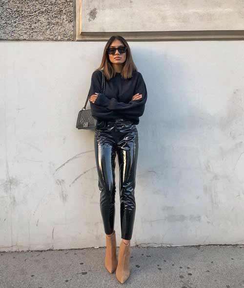 Leather leggings with sweatshirt