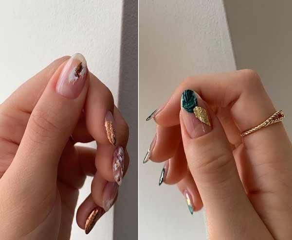 Transparent manicure with design