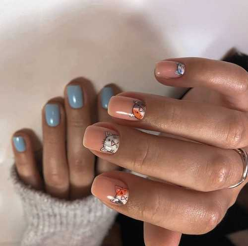 Different hands gray nail design