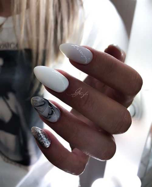 Gray long nails