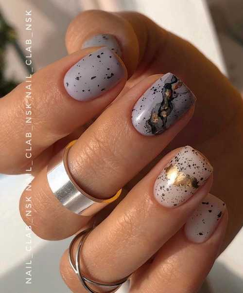 Gray with potal manicure