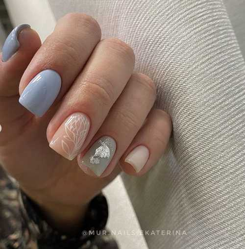Blue-gray manicure