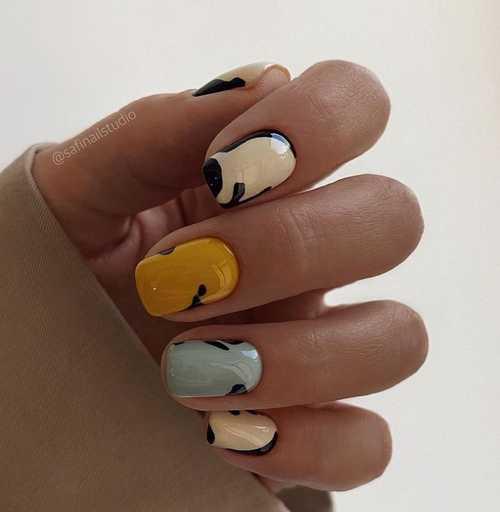 Gray multi-colored manicure