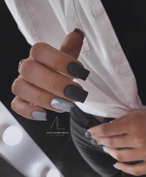 Gray manicure photo design