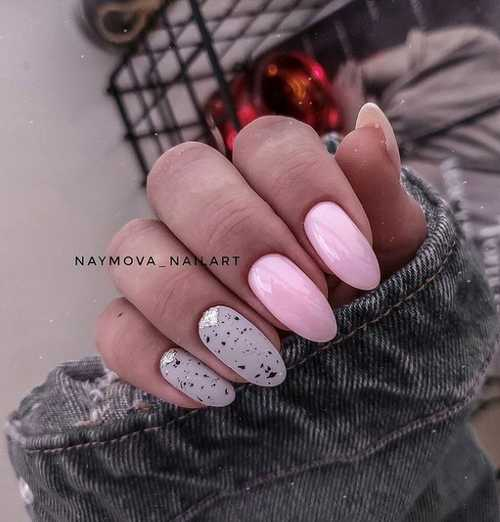 Gray with pink manicure