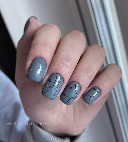 Gray manicure minimalism