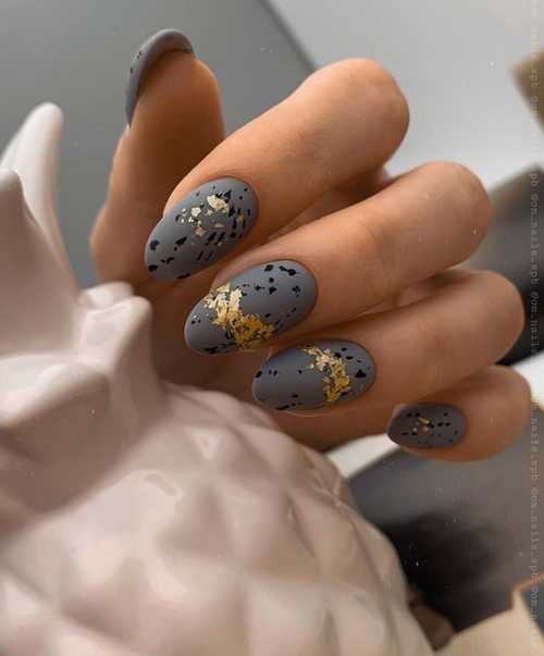 Gray with speckles and foil