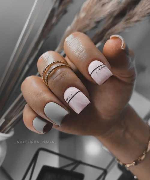 Light gray + pink manicure