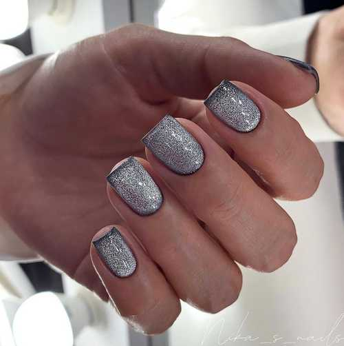 Gray cat eye design nails