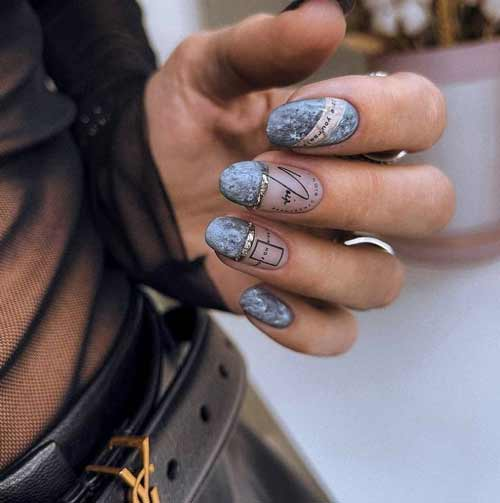 Gray textured concrete manicure