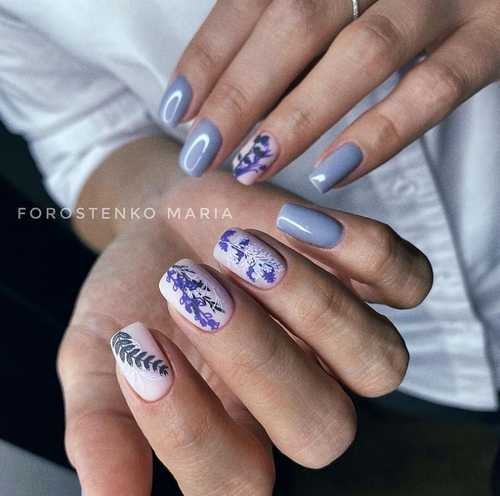 Gray spring manicure