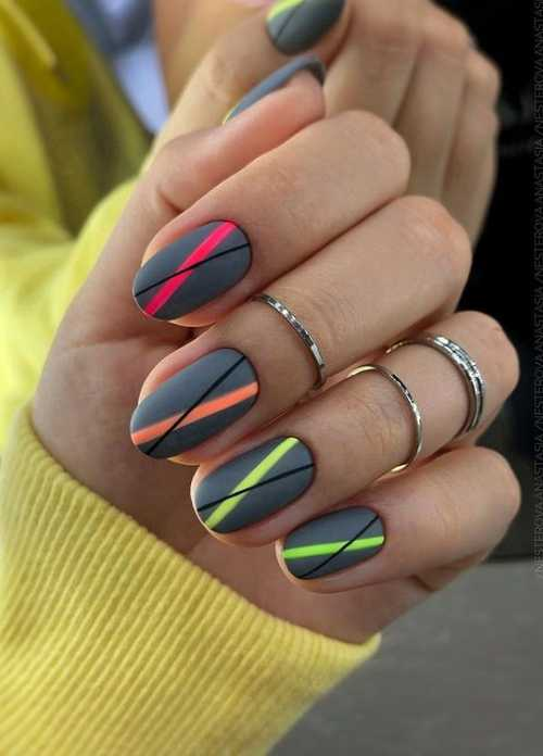 Gray with neon manicure