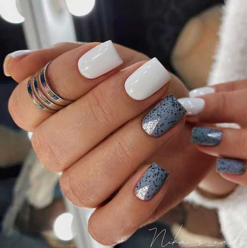Gray and white speckled nails