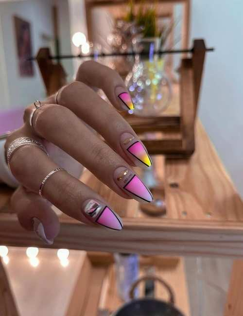 Long nails in pastel colors spring